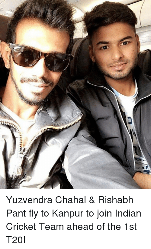 Rishabh Pant: 444444  il Yuzvendra Chahal & Rishabh Pant fly to Kanpur to join Indian Cricket Team ahead of the 1st T20I