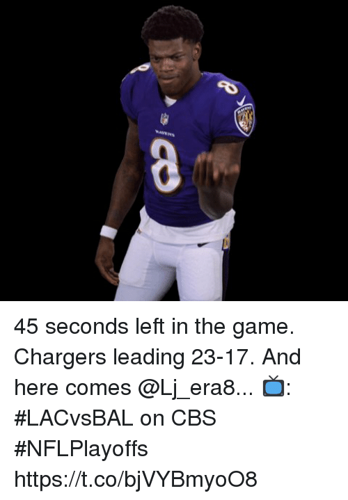 Sizzle: 45 seconds left in the game.  Chargers leading 23-17.  And here comes @Lj_era8...  📺: #LACvsBAL on CBS #NFLPlayoffs https://t.co/bjVYBmyoO8