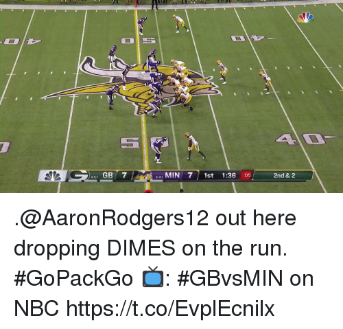 dimes: 451 GB 7  541 MIN 71st 1:36 :05  2nd & 2 .@AaronRodgers12 out here dropping DIMES on the run. #GoPackGo  📺: #GBvsMIN on NBC https://t.co/EvplEcnilx