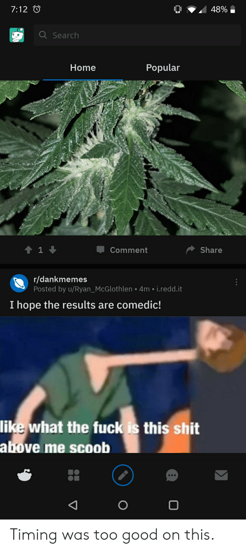 Shit, Good, and Home: 48%  7:12  Q Search  Popular  Home  Share  1  Comment  r/dankmemes  Posted by u/Ryan_McGlothlen 4m i.redd.it  I hope the results are comedic!  like what the fuckis this shit  above me scoob  O Timing was too good on this.