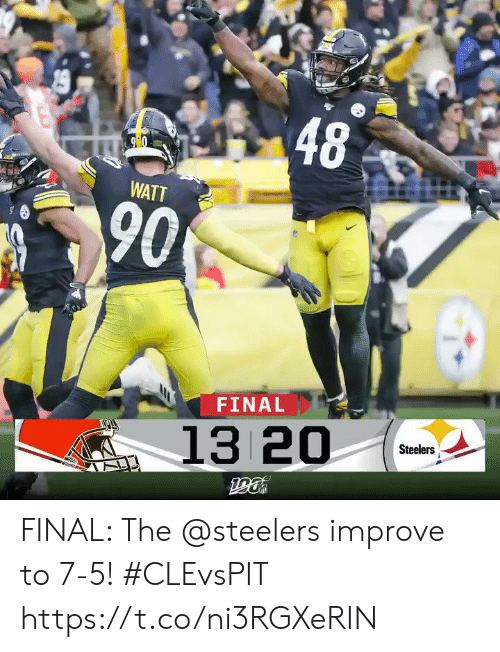 Steelers: 48  90  WATT  90  FINAL  13 20  Steelers  190 FINAL: The @steelers improve to 7-5! #CLEvsPIT https://t.co/ni3RGXeRIN