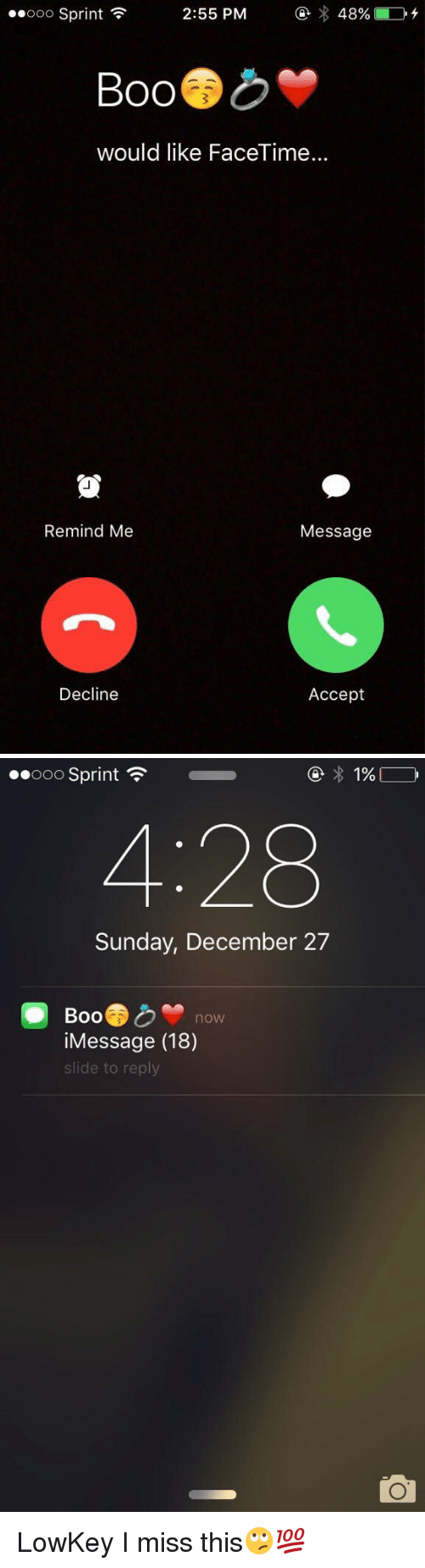 December 27: 48% LD  Ooo Sprint  2:55 PM  SOO  would like FaceTime...  Remind Me  Message  Decline  Accept   ..ooo Sprint  4:28  Sunday, December 27  Boo  now  iMessage (18)  de to reply LowKey I miss this🙄💯