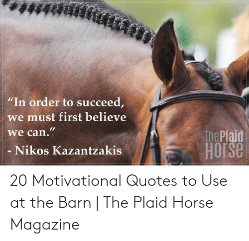 """Horse, Quotes, and Can:  #48888  """"In order to succeed,  we must first believe  we can.""""  The Plaid  HOrse  Nikos Kazantzakis 20 Motivational Quotes to Use at the Barn 