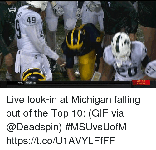 Sizzle: 49  WELLS  FARGO Live look-in at Michigan falling out of the Top 10:  (GIF via @Deadspin) #MSUvsUofM https://t.co/U1AVYLFfFF