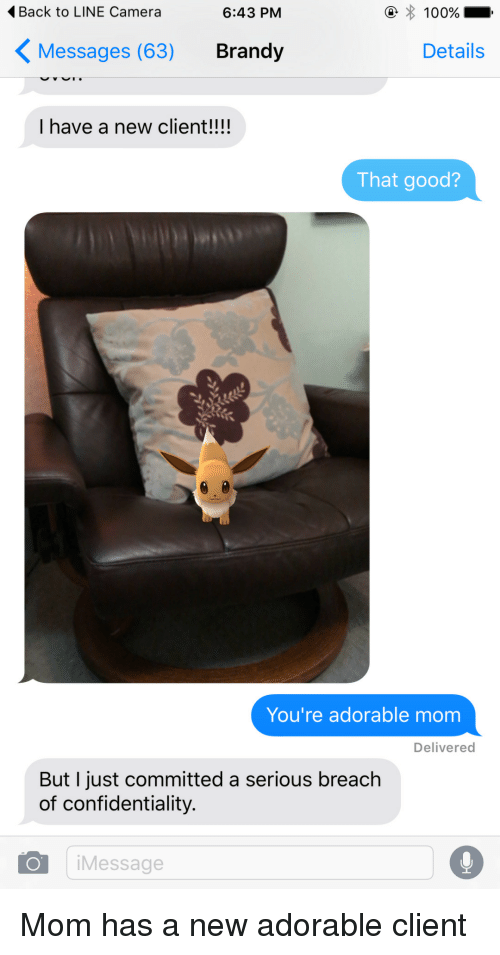 Camera, Good, and Mom: 4Back to LINE Camera  6:43 PM  KMessages (63) Brandy  Details  I have a new client!!!!  That good?  You're adorable mom  Delivered  But I just committed a serious breach  of confidentiality.  iMessage  0 Mom has a new adorable client