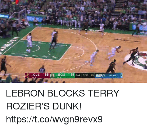 """Dunk, Memes, and Game: 4CLE  55  2BOS -511 3rd 