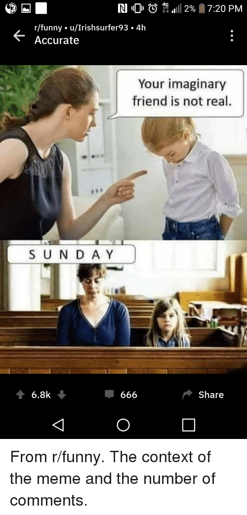 Funny, Meme, and Screenshots: 4G  L LTE  K-  r/funny. u/Irishsurfer93. 4h  Accurate  Your imaginary  friend is not real  SUNDA Y  Share