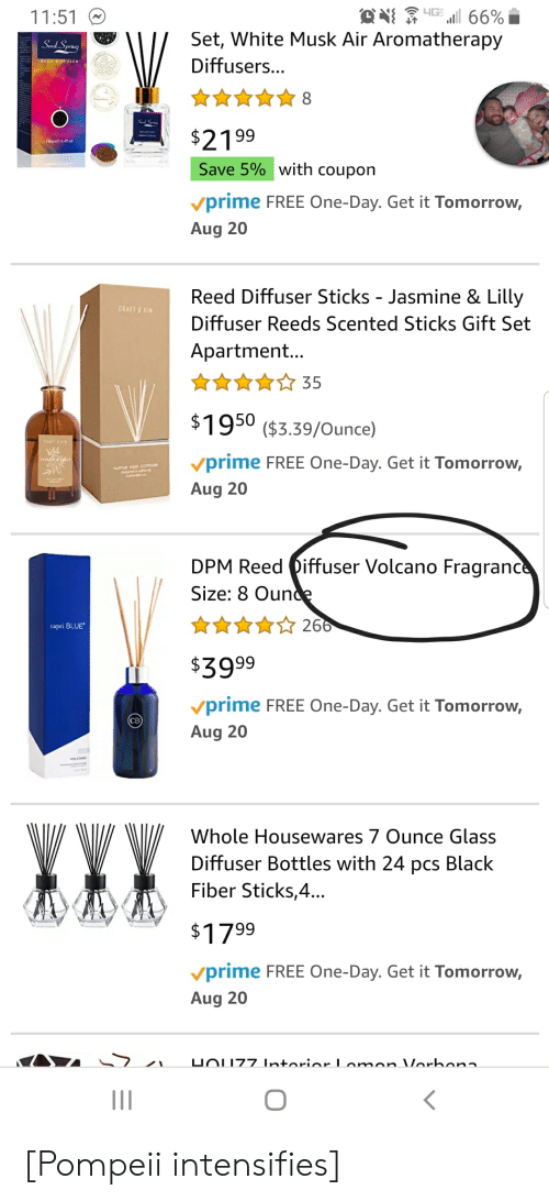 Black, Blue, and Free: 4GE  i 66%  Set, White Musk Air Aromatherapy  11:51  Seed Spring  Diffusers...  Sad Sp  $2199  Save 5% with coupon  vprime FREE One-Day. Get it Tomorrow,  Aug 20  Reed Diffuser Sticks - Jasmine & Lilly  CRAFT &KIN  Diffuser Reeds Scented Sticks Gift Set  Apartment...  35  $1950 ($3.39/Ounce)  CHAFTRIN  vprime FREE One-Day. Get it Tomorrow,  ATTAR D DIFPOSE  Aug 20  DPM Reed iffuser Volcano Fragrance  Size: 8 Ounce  266  capri BLUE  $3999  vprime FREE One-Day. Get it Tomorrow,  Aug 20  WVY  Whole Housewares 7 Ounce Glass  Diffuser Bottles with 24 pcs Black  Fiber Sticks,4...  $1799  vprime FREE One-Day. Get it Tomorrow,  Aug 20  UOUZ7 IntoriorLomon Vorbona  O [Pompeii intensifies]