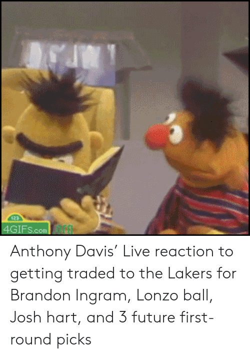 Future, Los Angeles Lakers, and Nba: 4GIFS.com Anthony Davis' Live reaction to getting traded to the Lakers for Brandon Ingram, Lonzo ball, Josh hart, and 3 future first-round picks