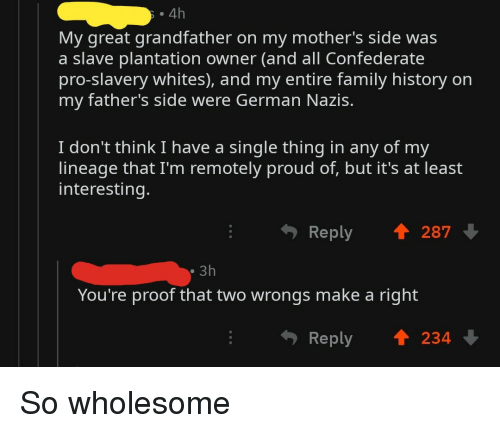 Wrongs: . 4h  My great grandfather on my mother's side was  a slave plantation owner (and all Confederate  pro-slavery whites), and my entire family history on  my father's side were German Nazis.  I don't think I have a single thing in any of my  lineage that I'm remotely proud of, but it's at least  interesting.  Reply  287  3h  You're proof that two wrongs make a right  Reply  234 So wholesome
