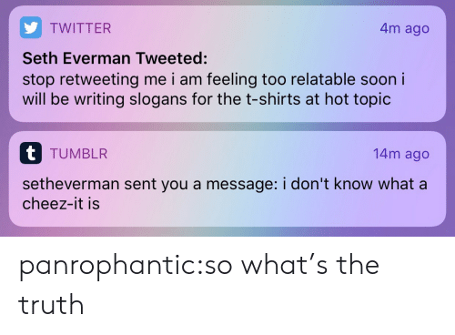 Hot Topic: 4m ago  TWITTER  Seth Everman Tweeted:  stop retweeting me i am feeling too relatable soon i  will be writing slogans for the t-shirts at hot topic  t TUMBLR  14m ago  setheverman sent you a message: i don't know what a  cheez-it is panrophantic:so what's the truth
