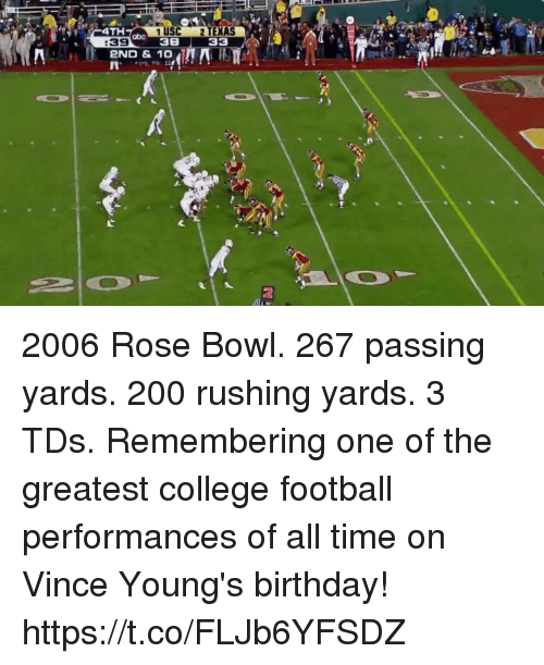 Bailey Jay, Birthday, and College: 4TH  1 USC 2 TEXAS  38 33  abo  :39  2ND & 10  2 2006 Rose Bowl. 267 passing yards. 200 rushing yards. 3 TDs.  Remembering one of the greatest college football performances of all time on Vince Young's birthday! https://t.co/FLJb6YFSDZ
