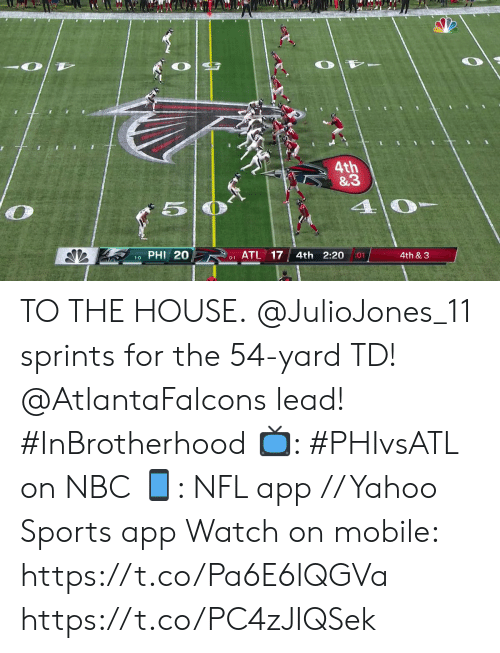 phi: 4th  &3  40  PHI 20  ATL 17  4th 2:20  4th & 3  01  1-0  0-1 TO THE HOUSE.  @JulioJones_11 sprints for the 54-yard TD! @AtlantaFalcons lead! #InBrotherhood  📺: #PHIvsATL on NBC 📱: NFL app // Yahoo Sports app Watch on mobile: https://t.co/Pa6E6lQGVa https://t.co/PC4zJIQSek