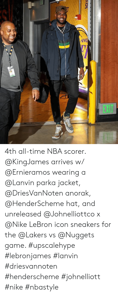 5a6c202ca2456 4th All-Time NBA Scorer Arrives W Wearing a Parka Jacket Anorak Hat ...
