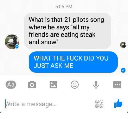 "Friends, Fuck, and Snow: 5:05 PM  What is that 21 pilots song  where he says ""all my  friends are eating steak  and snow  WHAT THE FUCK DID YOU  JUST ASK ME  Aa  Write a message..."