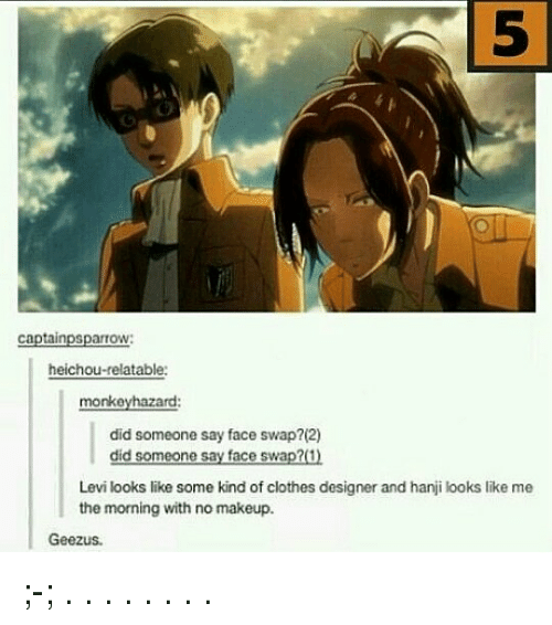 levy: 5  5  captainpsparrow:  heichou-relatable:  monkeyhazard:  did someone say face swap?(2)  did someone say face swap?(1)  Levi looks like some kind of clothes designer and hanji looks like me  the morning with no makeup.  Geezus ;-; . . . . . . . .