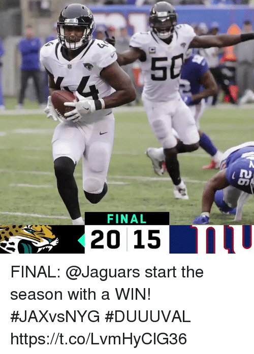 Memes, 🤖, and Jaguars: 5  FINAL  20 15111 FINAL: @Jaguars start the season with a WIN! #JAXvsNYG  #DUUUVAL https://t.co/LvmHyClG36