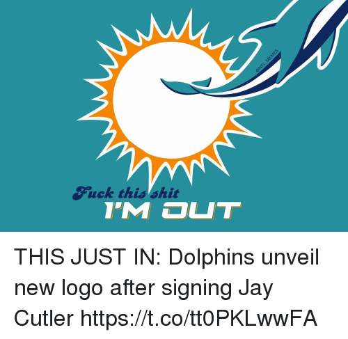 Football, Jay, and Nfl: 5  Fuck this shit THIS JUST IN: Dolphins unveil new logo after signing Jay Cutler https://t.co/tt0PKLwwFA