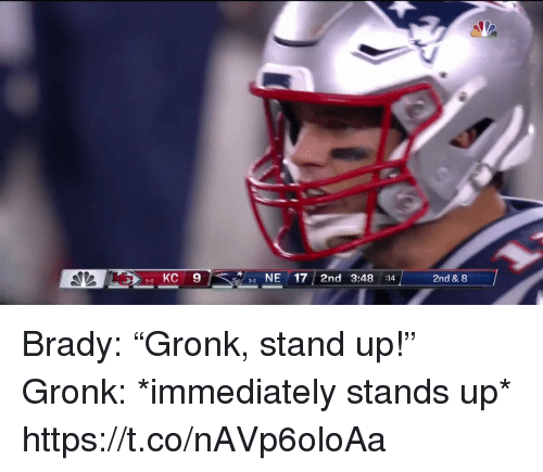 """Football, Nfl, and Sports: 5 KC 9  NE17 2nd 3:48 :14  2nd & 8  5-0  3-2 Brady: """"Gronk, stand up!""""   Gronk: *immediately stands up*  https://t.co/nAVp6oloAa"""