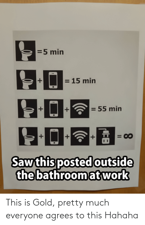 outside: =5 min  = 15 min  = 55 min  = 00  Saw this posted outside  the bathroom at work  8.  II This is Gold, pretty much everyone agrees to this Hahaha