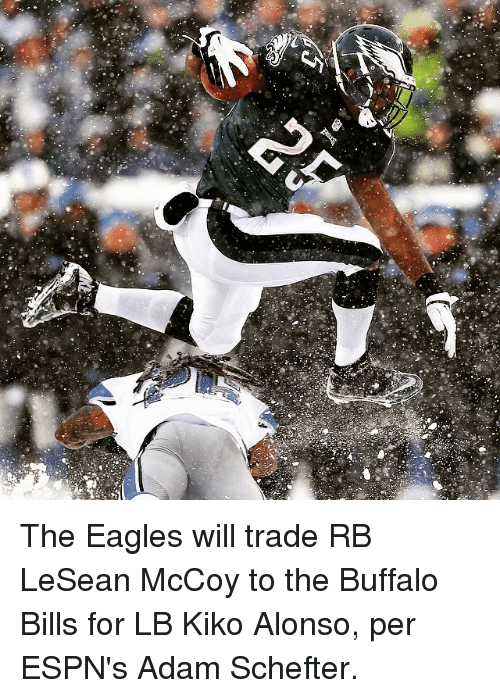 Espn, Sports, and Buffalo Bills: 5 The Eagles will trade RB LeSean McCoy to the Buffalo Bills for LB Kiko Alonso, per ESPN's Adam Schefter.