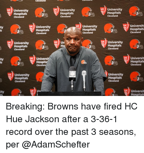Browns, Cleveland, and Record: 5) University  Hospitals  H University  Hospitals  H University  Hospitals  University  Hosp  Cleveland  H University  Hospitals  Universit  Hospitals  ty  us), University  MUniversity  Hospitals  Hospitals  Cleveland  Universit  Hospitals  ty  University  Hospitals  University  Hospitals  Universit  Hospitals  ity Breaking: Browns have fired HC Hue Jackson after a 3-36-1 record over the past 3 seasons, per @AdamSchefter