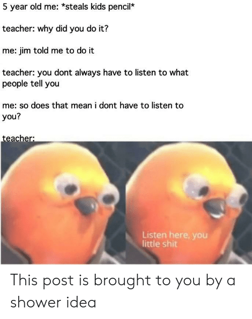 You Do It: 5 year old me: *steals kids pencil*  teacher: why did you do it?  me: jim told me to do it  teacher: you dont always have to listen to what  people tell you  me: so does that mean i dont have to listen to  you?  teacher:  Listen here, you  little shit This post is brought to you by a shower idea