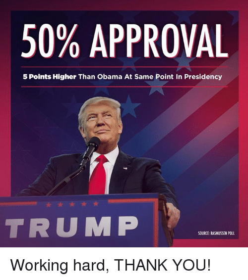 Obama, Thank You, and Trump: 50% APPROVAL  5 Points Higher Than Obama At Same Point In Presidency  TRUMP  SOURCE:RASMUSSEN POLL Working hard, THANK YOU!