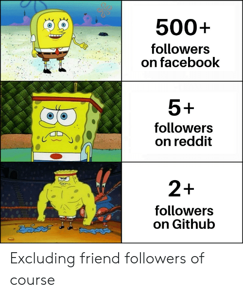 Facebook, Reddit, and Github: 500+  followers  on facebook  5+  followers  on reddit  2+  followers  on Github Excluding friend followers of course