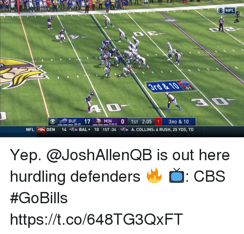 Memes, Nfl, and Cbs: 51  NFL  ()--BUF-21  14  172-MIN1-0-1)  101 ST :34  0  1ST 2:05  A. COLLINS: 6 RUSH, 25 YDS, TD  1  3RD & 10  NFL.A. DEN  BAL. Yep. @JoshAllenQB is out here hurdling defenders 🔥  📺: CBS #GoBills https://t.co/648TG3QxFT