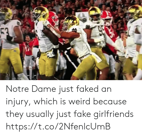 Fake, Nfl, and Weird: 53  950 Notre Dame just faked an injury, which is weird because they usually just fake girlfriends https://t.co/2NfenlcUmB