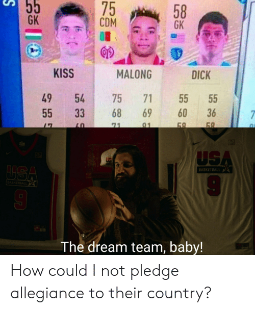 Basketball: 55  75  CDM  58  GK  GK  KISS  MALONG  DICK  49  54  75  71  55  60  68  69  36  55  33  7  69  58  71  91  USA  LUSA  BASKETBALL  BASKETBALL  The dream team, baby! How could I not pledge allegiance to their country?