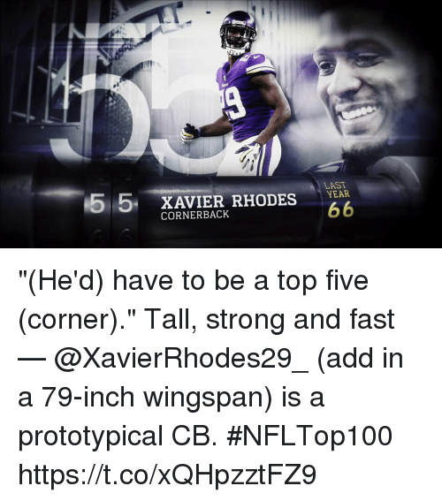 "Memes, Top Five, and Strong: 55 XAVIER RHODES  LAST  CORNERBACK ""(He'd) have to be a top five (corner).""  Tall, strong and fast — @XavierRhodes29_ (add in a 79-inch wingspan) is a prototypical CB. #NFLTop100 https://t.co/xQHpzztFZ9"