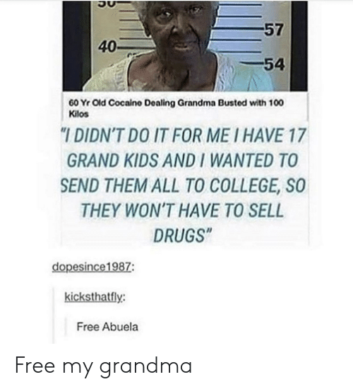 """College, Drugs, and Grandma: 57  40-  -54  60 Yr Old Cocaino Dealing Grandma Busted with 100  Kilos  """"I DIDN'T DO IT FOR ME I HAVE 17  GRAND KIDS AND I WANTED TO  SEND THEM ALL TO COLLEGE, SO  THEY WON'T HAVE TO SELL  DRUGS""""  dopesince1987:  kicksthatfly:  Free Abuela Free my grandma"""