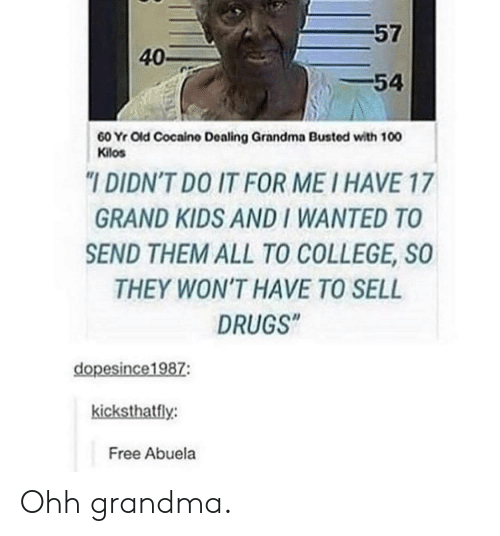 """College, Drugs, and Grandma: 57  40-  54  60 Yr Old Cocaino Dealing Grandma Busted with 100  Kilos  """"I DIDN'T DO IT FOR ME I HAVE 17  GRAND KIDS AND I WANTED TO  SEND THEM ALL TO COLLEGE, SO  THEY WON'T HAVE TO SELL  DRUGS""""  dopesince1987:  kicksthatfly:  Free Abuela Ohh grandma."""