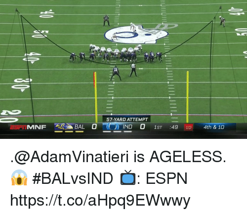 Espn, Memes, and 🤖: 57-YARD ATTEMPT  E FTMINF AB, , BALO  ,INDO 1ST :4910  4th & 10 .@AdamVinatieri is AGELESS. 😱  #BALvsIND  📺: ESPN https://t.co/aHpq9EWwwy
