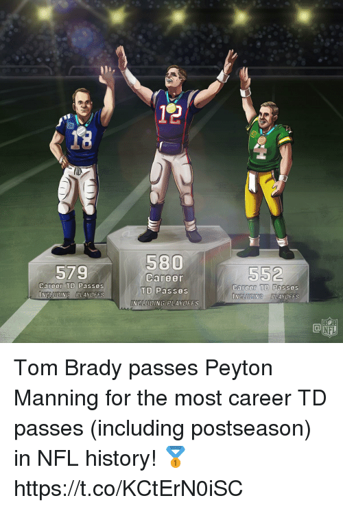 Memes, Nfl, and Peyton Manning: 579  Career  Career TD Passes  INCLUDING PLAYOFFS  Career TD Passes  INCLUDINGPLAYOFFS  INCLUDING PLAYOFFS  NFL Tom Brady passes Peyton Manning for the most career TD passes (including postseason) in NFL history! 🥇 https://t.co/KCtErN0iSC