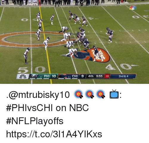 Memes, 🤖, and Nbc: 5o  7 PHI 10  124 CHI9 4th 9:55 :05  2nd & 4 .@mtrubisky10 🎯🎯🎯  📺: #PHIvsCHI on NBC #NFLPlayoffs https://t.co/3l1A4YIKxs