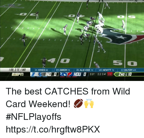 Hilton: 5O  IRB, 3 TE, I WR  21 HINES RB  |  85 EBRON TE  |  81 ALIE-COX TE  45 HEWITT TE  13 HILTON wR  ESP, i EAT INDI KAT2 HOLI O 1ST 11:14 11 2ND -10 The best CATCHES from Wild Card Weekend! 🏈🙌 #NFLPlayoffs https://t.co/hrgftw8PKX