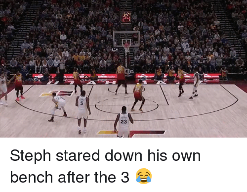 Down, Own, and Bench: 6 24  23 Steph stared down his own bench after the 3 😂