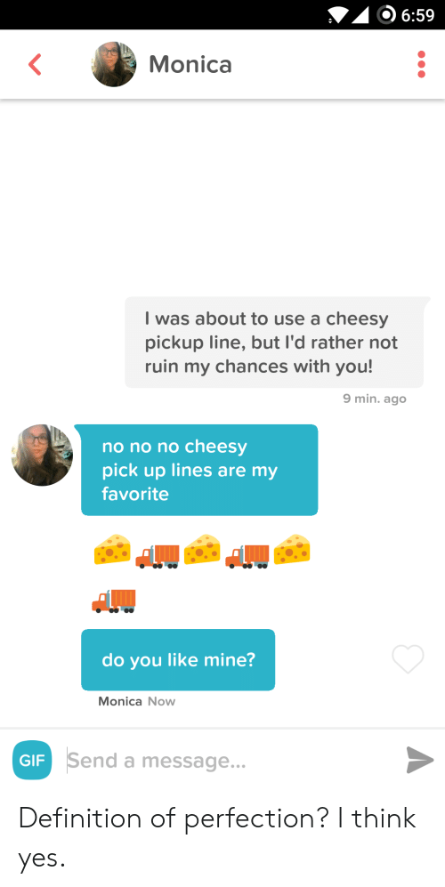 Ruin: 6:59  Monica  I was about to use a cheesy  pickup line, but I'd rather not  ruin my chances with you!  9 min. ago  no no no cheesy  pick up lines are my  favorite  do you like mine?  Monica Now  Send a message...  GIF Definition of perfection? I think yes.