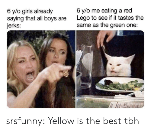 Jerks: 6 y/o me eating a red  Lego to see if it tastes the  same as the green one:  6 y/o girls already  saying that all boys  jerks:  1/Rice Dotcute srsfunny:  Yellow is the best tbh