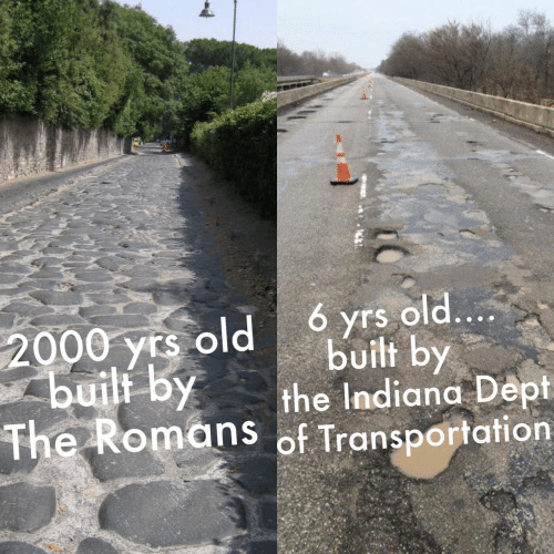 Indiana: 6 yrs old....  2000 yrs old  built by  built by  the Indiana Dept  The Romans of Transportation