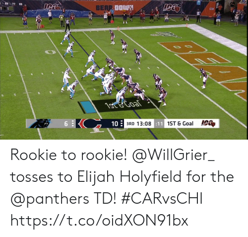 Memes, Bear, and Goal: 60 77 89  BEAR DOWN  GSH  1ote Goal  6  10  3RD 13:08:11 1ST & Goal Rookie to rookie!  @WillGrier_ tosses to Elijah Holyfield for the @panthers TD! #CARvsCHI https://t.co/oidXON91bx