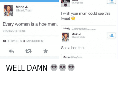 Hoe, Hoes, and Moms: @MarioTrash  Every woman is a hoe man.   @KingSabs  I wish your mom could see this tweet 😩   @MarioTrash  Every woman is a hoe man.   @MarioTrash  She a hoe too.   @KingSabs  I wish your mom could see this tweet   @HoesBible  WELL DAMN 💀 💀 💀 WELL DAMN 💀💀💀