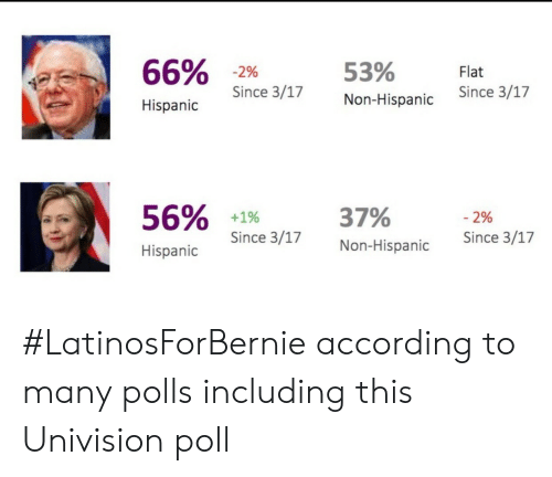 univision: 66%  Hispanico Since 317  53%  Non-Hispanic  Since 3/17  Since 3/17  56%  +1%  Since 3/17  37%  Non-Hispanic  -2%  Since 3/17  Hispanic #LatinosForBernie according to many polls including this Univision poll