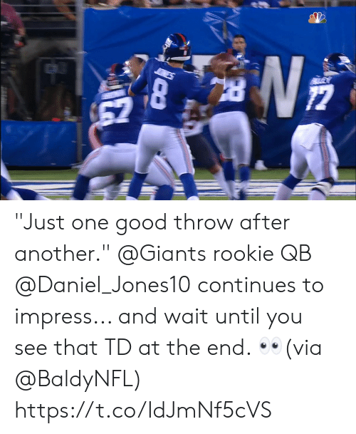 "Memes, Giants, and Good: 67 ""Just one good throw after another.""  @Giants rookie QB @Daniel_Jones10 continues to impress... and wait until you see that TD at the end. 👀(via @BaldyNFL) https://t.co/IdJmNf5cVS"