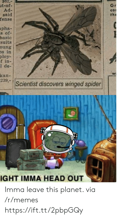 Head, Memes, and Spider: $67,  ut-of-  Ad-  said  fense  Gr  CO  the  apha-  s of-  basic  suits  oung  Ds in  ploy  f in-  1 de-  kan-  239,-  Scientist discovers winged spider  IGHT IMMA HEAD OUT Imma leave this planet. via /r/memes https://ift.tt/2pbpGQy