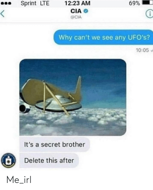 lte: 69%  Sprint LTE  12:23 AM  CIA  <>  @CIA  Why can't we see any UFO's?  10:05  It's a secret brother  Delete this after Me_irl