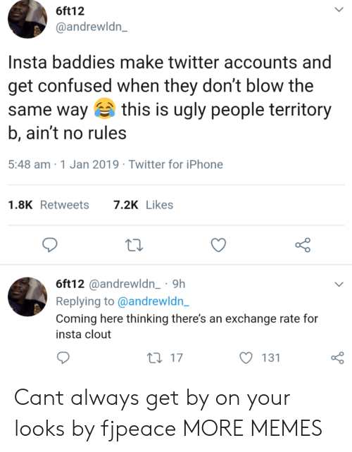 Confused, Dank, and Iphone: 6ft12  @andrewldn_  Insta baddies make twitter accounts and  get confused when they don't blow the  same way this is ugly people territor  b, ain't no rules  5:48 am 1 Jan 2019 Twitter for iPhone  1.8KRetweets 7.2K Likes  6ft12@andrewldn_ 9h  Replying to @andrewldn  Coming here thinking there's an exchange rate for  insta clout  ti 17  131  o 0 Cant always get by on your looks by fjpeace MORE MEMES